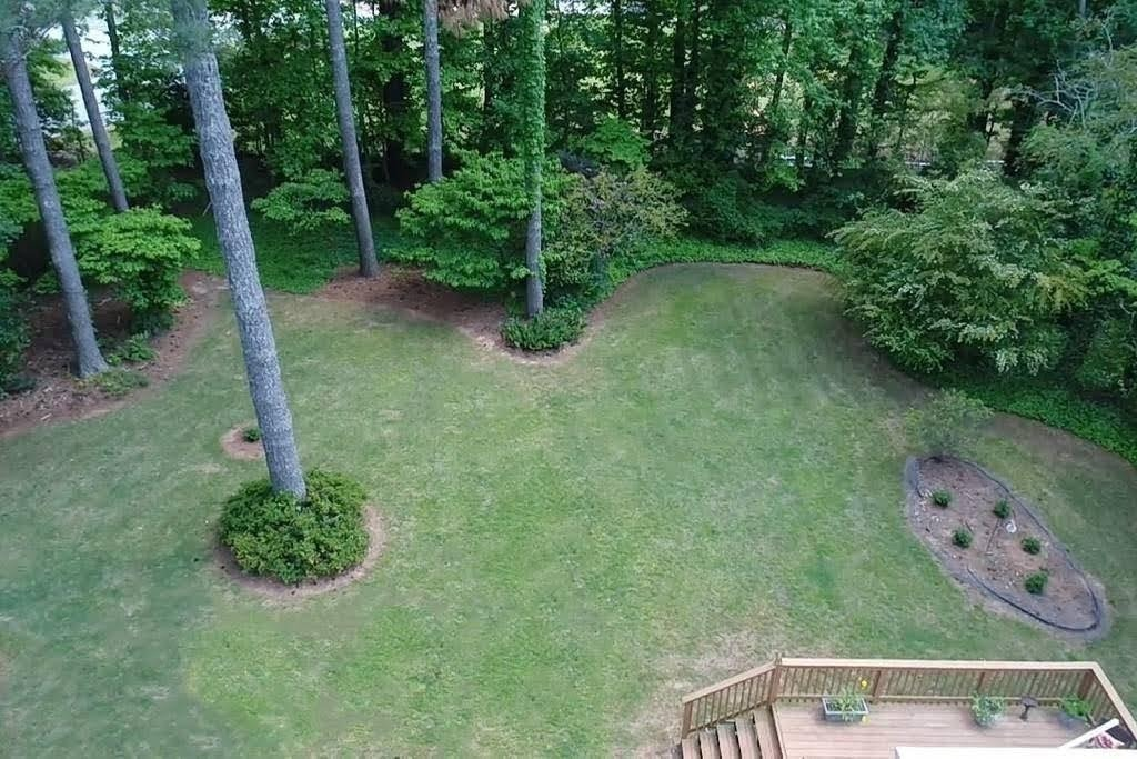 Fenced-in Back Yard Aerial View
